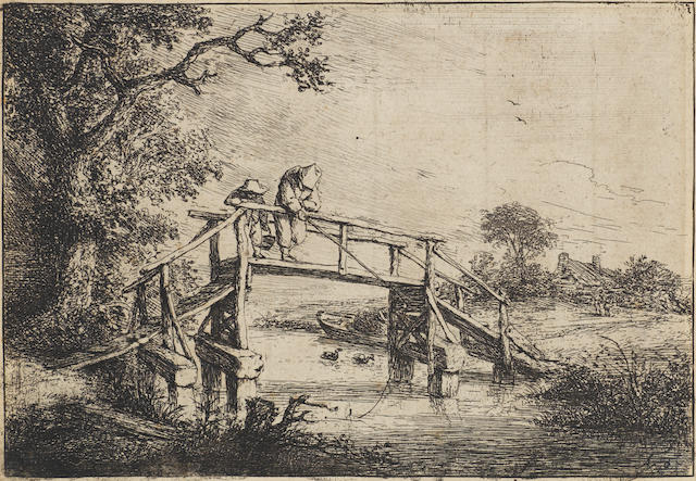 Adriaen van Ostade (Dutch, 1610-1685) The Anglers Etching, c.1653, the fifth state of six, with fine shading under the ramp and fine horizontal lines still visible in the sky, on laid, trimmed just inside platemark, 113 x 163mm (4 1/2 x 6 3/8in)(PL)