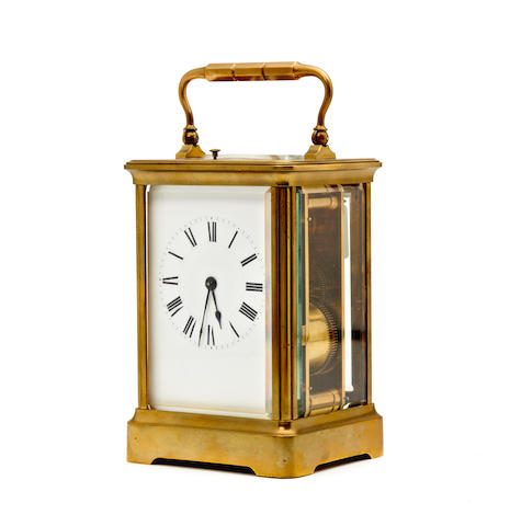A late 19th century French striking and repeating gilt brass carriage clock H. Jacot