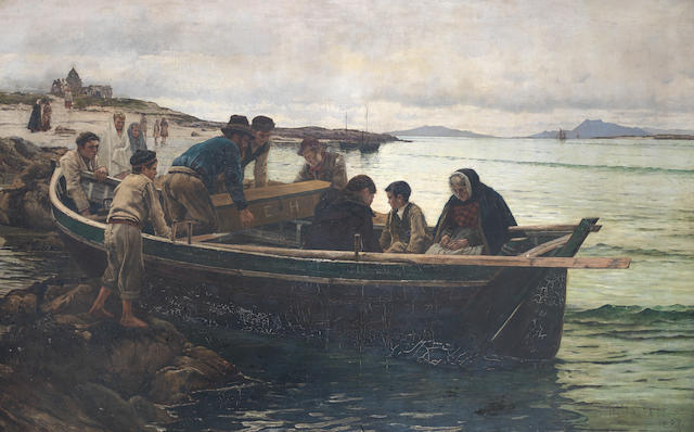 William H Bartlett (British, 1858-1932) The Last Brief Voyage: A Connemara Funeral (The Emigrant's Departure)
