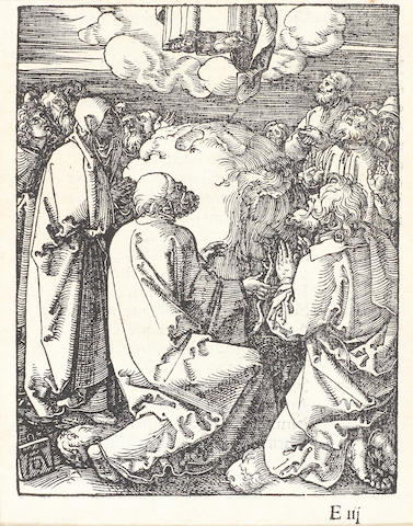 Albrecht Dürer (German, 1471-1528) The Ascension, from The Small Passion Woodcut, from the Latin text edition of 1511 with the letters Eiii lower right, on laid, 126 x 97mm (5 x 3 3/4in)(PL)