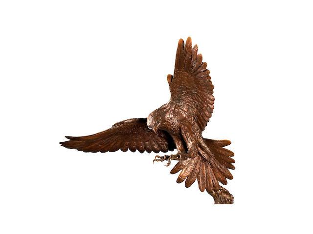 Lorne McKean (British, 1939) Peregrine Falcon 115cm wide, 100cm deep, 155cm high.