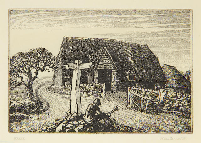 Robin Tanner (British, 1904-1988) Roadmaker Etching, 1928, on laid, signed and inscribed 'XXXVII' in pencil, with margins, 102 x 151mm (4 x 6in)(PL)(unframed)