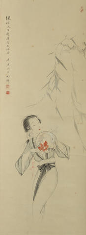 Hu Yefo (1908-1980) Lady Holding a Fan