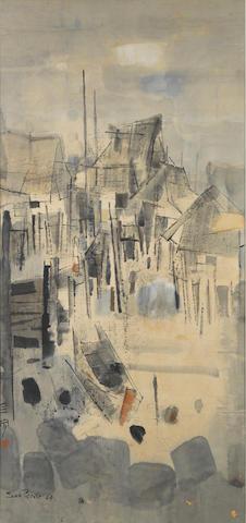 Cheong Soo Pieng (Singaporean, 1917-1983) Kampong Landscape
