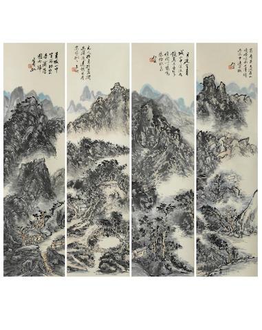 Huang Binhong (1865-1955) Four Scenes in Sichuan