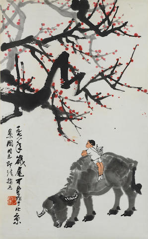 Li Keran (1907-1989) Herding under Red Plum Blossoms