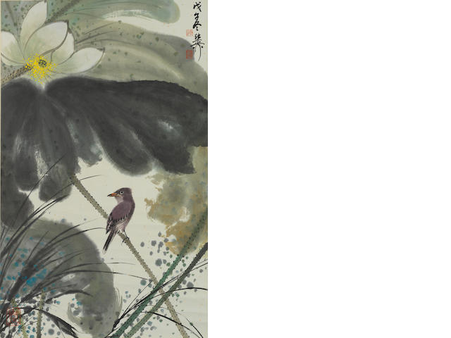 Xie Zhiliu (1910-1997) Bird and White Lotus