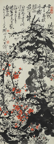 Guan Shanyue (1912-2000) Red and White Plum Blossoms
