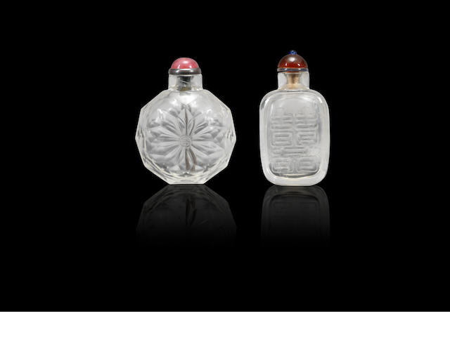 Two rock-crystal snuff bottles Qing dynasty