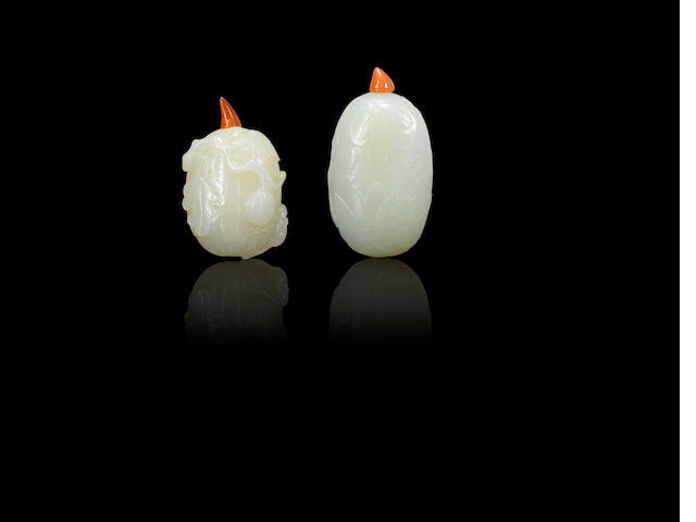 Two jade 'fruit' snuff bottles Qianlong