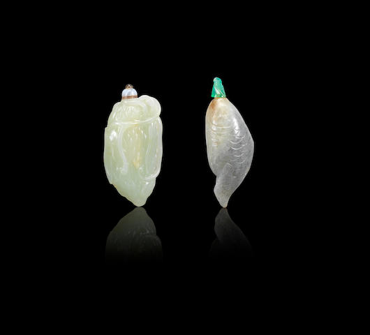 Two jade 'melon' and 'fish' snuff bottles Qing dynasty, 1780-1840