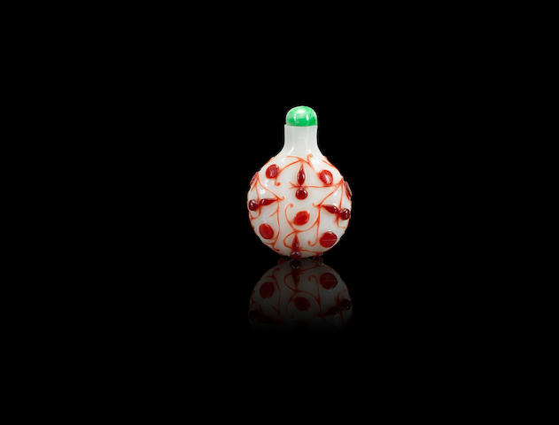 A red glass overlay 'gourds' snuff bottle  Qing dynasty, 1760-1800