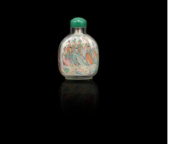 An inside-painted glass 'heavenly maidens' snuff bottle Wen Xiangjun, dated 1976