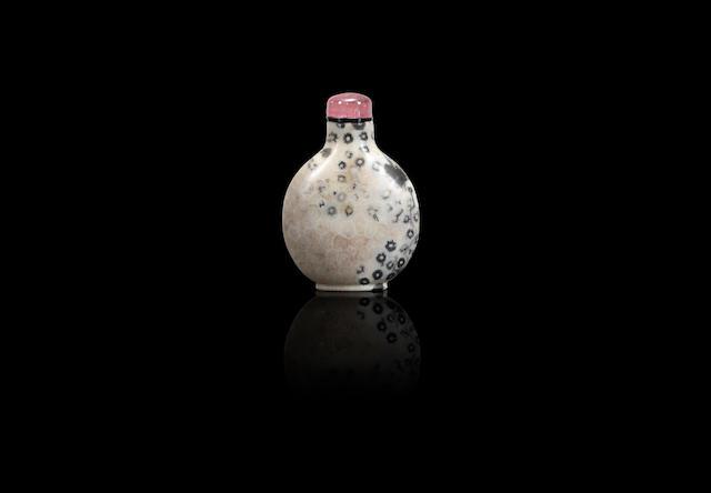 A fossiliferous limestone snuff bottle Qing dynasty