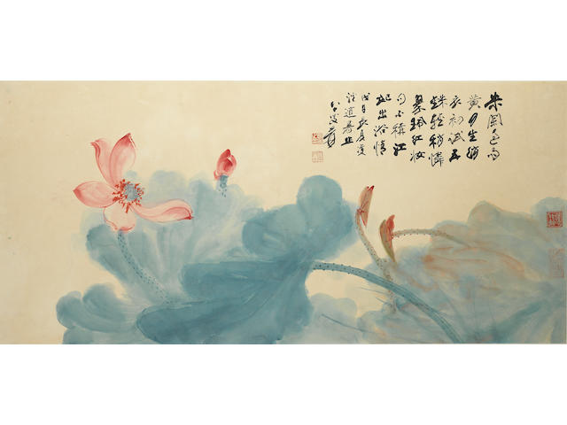 Zhang Daqian (1899-1983) Blue and Red Lotus