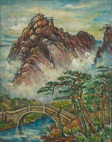 Liu Haisu (1896-1994) Bailong Bridge in Mount Huang