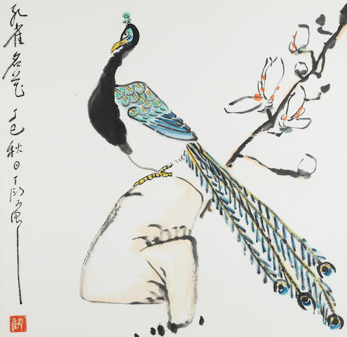 Ding Yanyong (1902-1978) A Peacock, A Great Beauty