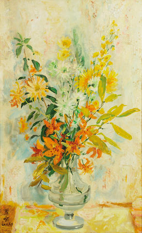 Le Pho (Vietnamese/French, 1907-2001) Les Lys Jaune (Yellow Lilies)