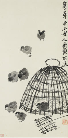 Qi Baishi (1863-1957) Seven Chicks Out from a Cage