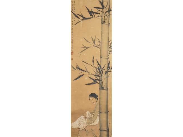 Xu Beihong (1895-1953) Lady Seated Beneath Bamboo