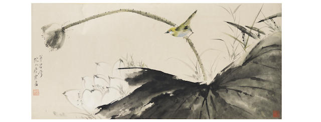 Tang Yun (1910-1993) Bird and Lotus