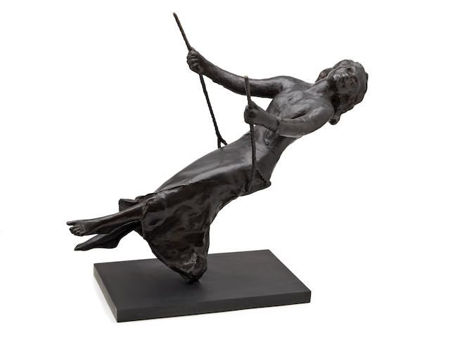 "Bronze sculpture by Sydney Harpley RA ""Girl on swing"" height 680mm width between ends of ropes of swing 280mm"