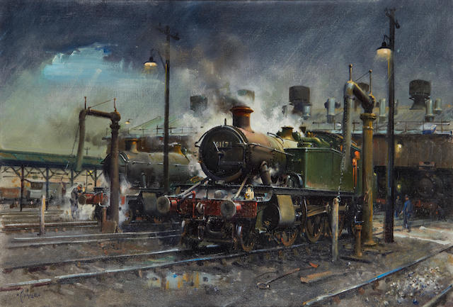 Terence Cuneo (British, 1907-1996) 'Storm over Southall Shed' 1978