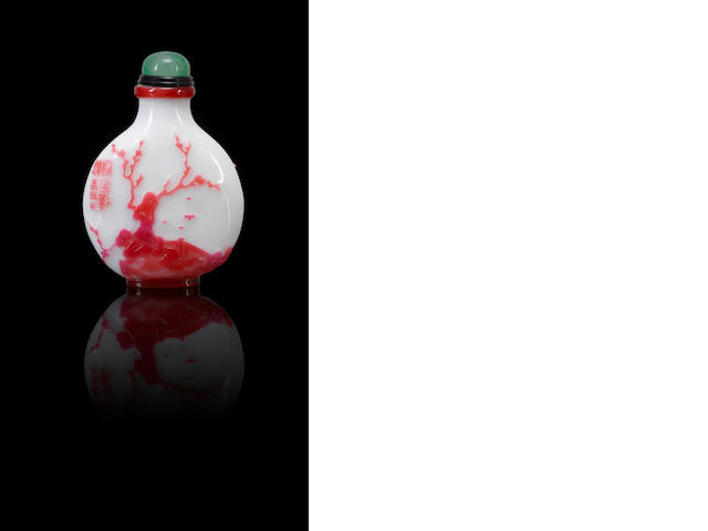 An inscribed ruby-red glass overlay 'Princess Shouyang' snuff bottle Yangzhou, dated 1880