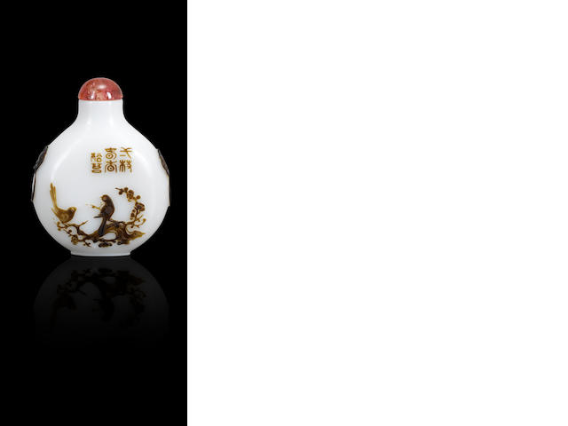 An inscribed olive-brown glass overlay 'spring and autumn scenes' snuff bottle Songtai, probably Yangzhou, 1810-1880