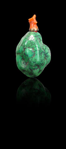 A turquoise matrix snuff bottle Qing dynasty, 1730-1880