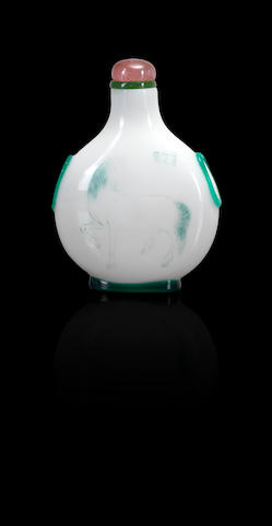 An inscribed emerald-green glass overlay 'Rhapsody on a Heavenly Horse' snuff bottle Zhou Honglai, 1898 (the bottle: 1770-1850)