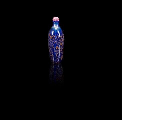 A sapphire-blue aventurine-glass snuff bottle Qing dynasty, 1720-1800