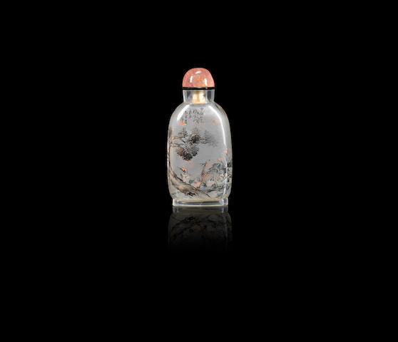 An inside-painted glass 'Xuanhe inspired' snuff bottle Ding Erzhong, dated 1899