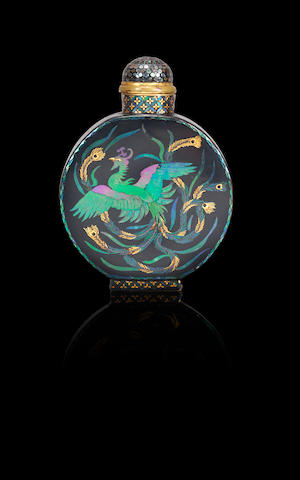A lac-burgauté 'phoenix' snuff bottle Japan, 1854-1920