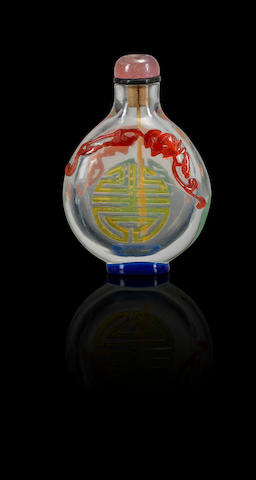 A five-colour glass overlay 'shou character' snuff bottle Qing dynasty, 1760-1820