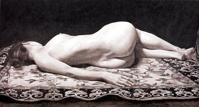 Qu Leilei (b.1951)  Lying on Tapestry