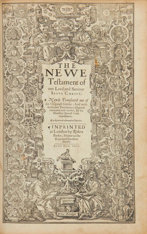 BIBLE, English, Authorised version The Holy Bible, Conteyning the Old Testament, and the New, third folio, 1617