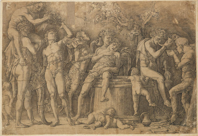 Andrea Mantegna (Italian, 1431-1506) Bacchanal with a wine vat Engraving, 1490, 280 x 410mm(SH), a damaged impression that has been cut up and repaired, with paper loss in several spots, trimmed to image, together with 2 further engravings by Antonio Giovanni Faldoni 'The Adoration of the Shepherds' after Parmigianino, 1735, on laid, with thread margins, published by Zanetti, 230 x 265mm (9 1/8 x 10 3/8in)(PL), Agostino dei Musi 'Adoration of the Shepherds', 1526, on laid, 205 x 240mm (8 1/8 x 9 1/2in)(SH)  3 unframed