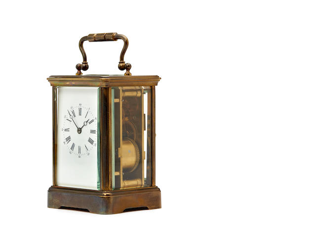 An early 20th century French brass carriage clock Anonymous