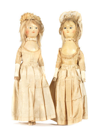 Pair of George III English painted wooden dolls, circa 1780 2