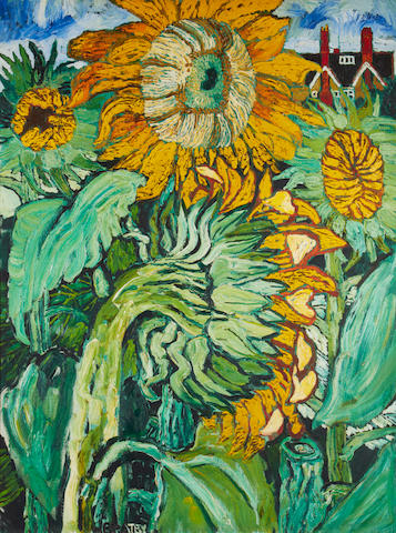 John Bratby R.A. (British, 1928-1992) Sunflowers in the artist's garden