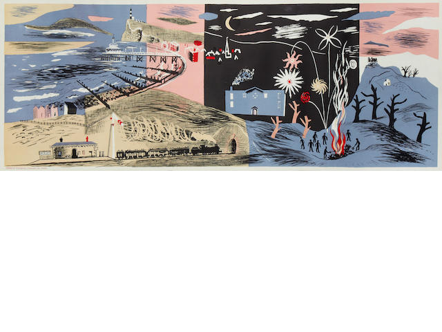 John Piper CH (British, 1903-1992) Nursery Frieze II Autolithograph in colours, 1936, on machine-made lithographic cartridge paper, unsigned as published from an unspecified edition, printed by Waterlow & Son, published by Contemporary Lithographs, 460 x 1215mm (18 1/8 x 47 7/8in)(I)