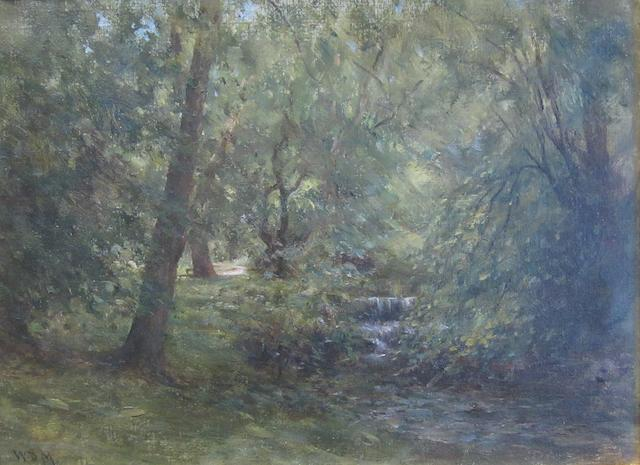 William Darling McKay, RSA LLD (British, 1844-1924) Waterfall in woodland