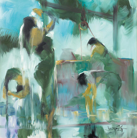 U Lun Gywe (Burmese, b.1930) Bathing at the Well II