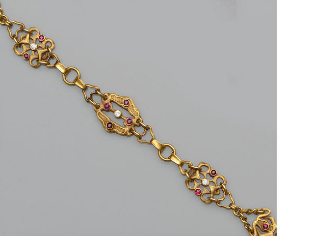 A ruby and diamond set bracelet