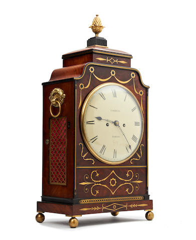 A George IV mahogany and brass inlaid bracket clock, with pull repeat J.Watkins. Barking