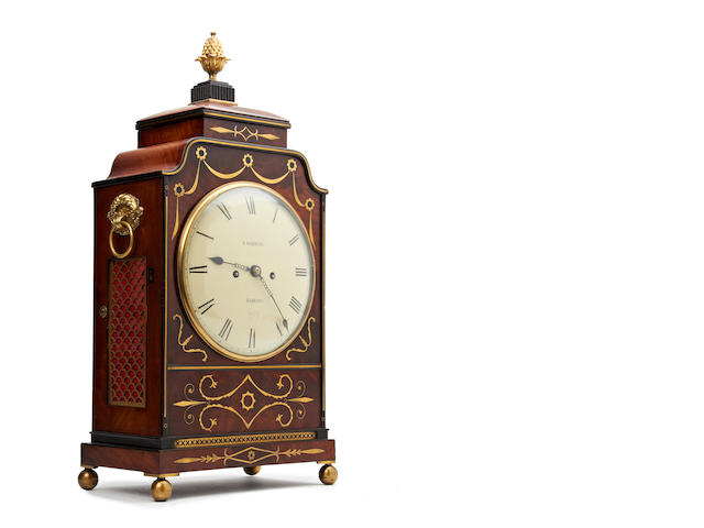 A George IV mahogany and brass inlaid bracket clock J.Watkins, Barking