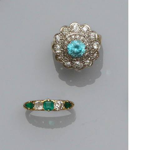 An emerald and diamond half hoop ring and a zircon and diamond cluster ring  (2)