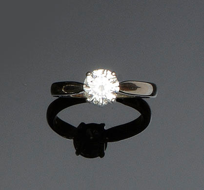 A platinum single stone diamond ring