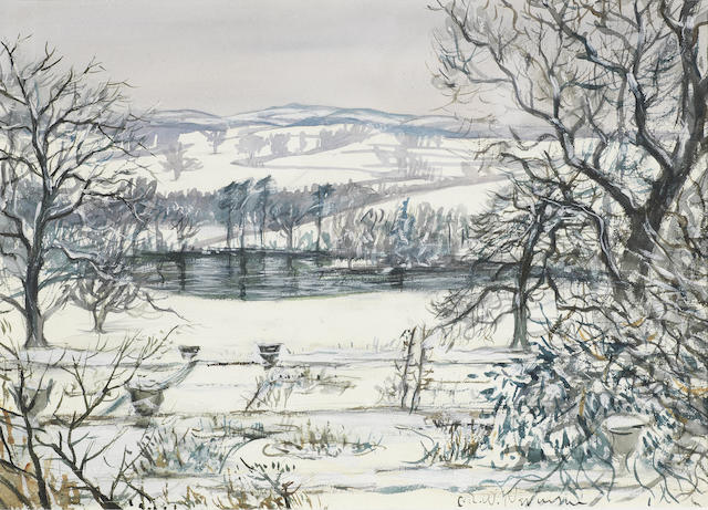 Christopher Richard Wynne Nevinson A.R.A. (British, 1889-1946) Snow in Derbyshire 24.4 x 34.4 cm. (9 5/8 x 13 1/2 in.)